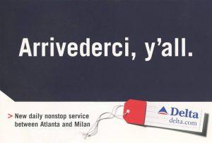arrivederci y'all postcard for Delta copy by Melissa Hanson